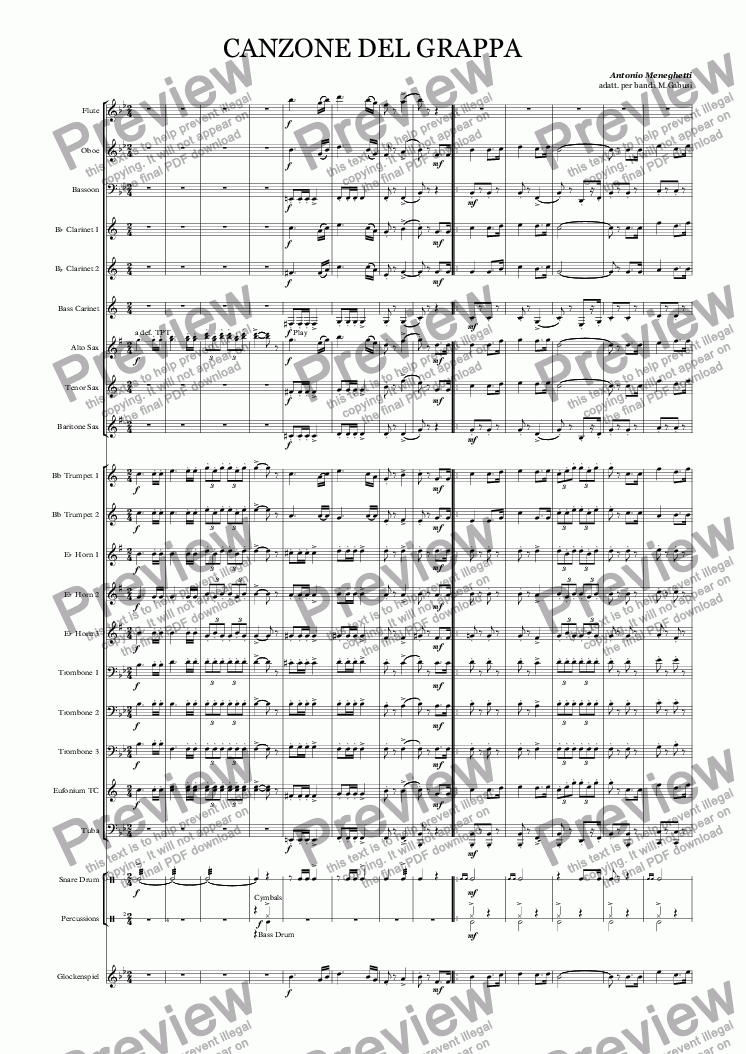 page one of CANZONE DEL GRAPPA