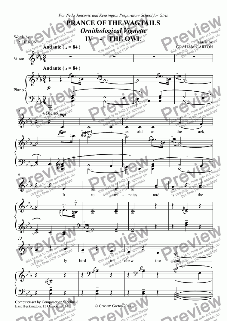page one of CHORAL BALLET for Children - PRANCE OF THE WAGTAILS  (Nickname 'Birdie Opera') for Solo and Unison Voices: Ornithological Vignette No.4 THE OWL
