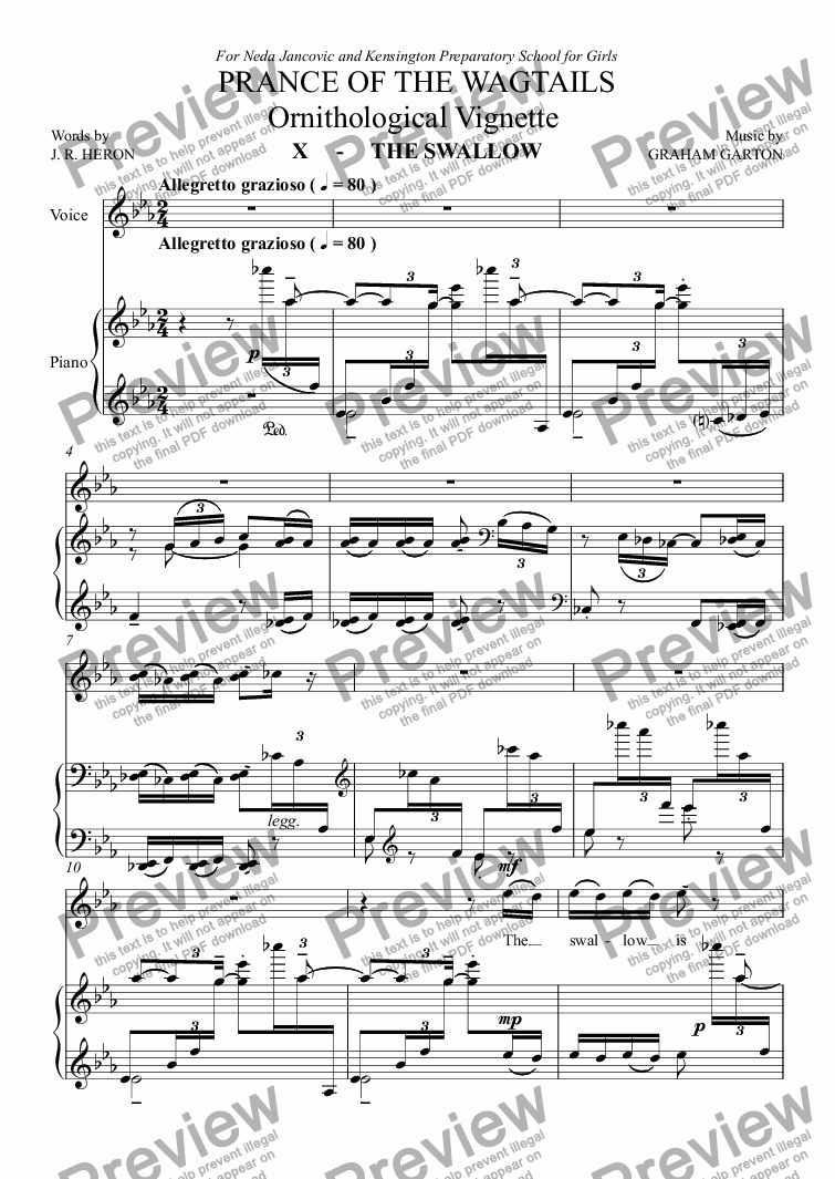 page one of CHORAL BALLET for Children - PRANCE OF THE WAGTAILS  (Nickname 'Birdie Opera') for Solo and Unison Voices: Ornithological Vignette No.10 THE SWALLOW