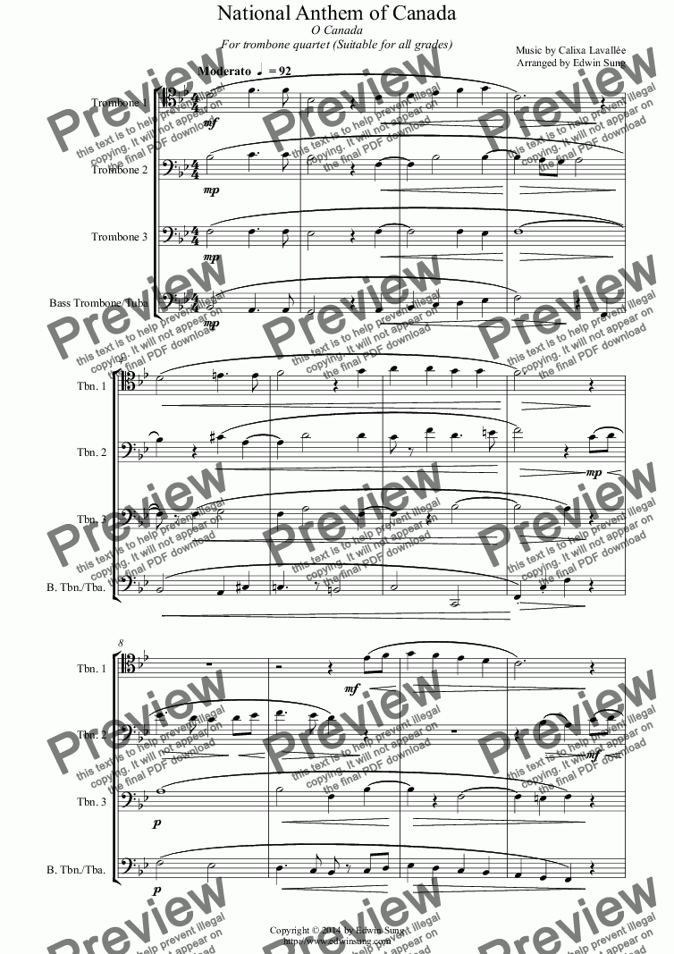 page one of National Anthem of Canada (for trombone quartet, suitable for all grades)