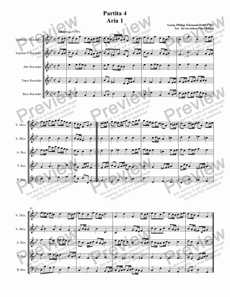 page one of Partita 4 Aria 1ASALTTEXT