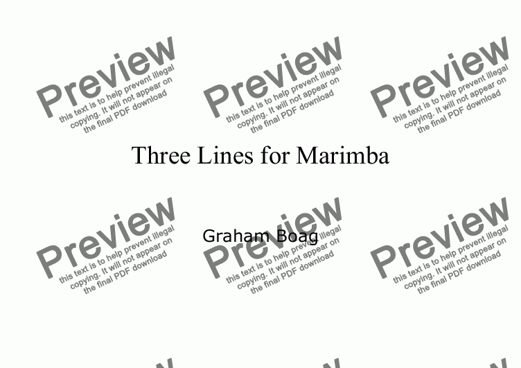 page one of Three Lines for Marimba