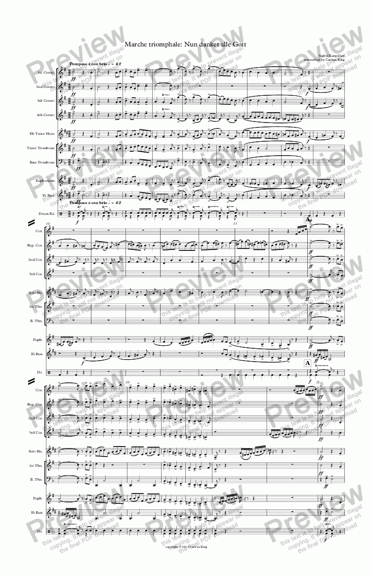 page one of Marche triomphale: Nun danket alle Gott (10-piece)