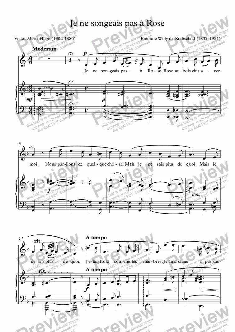 page one of Je ne songeais pas à Rose (Rothschild / Victor Hugo)