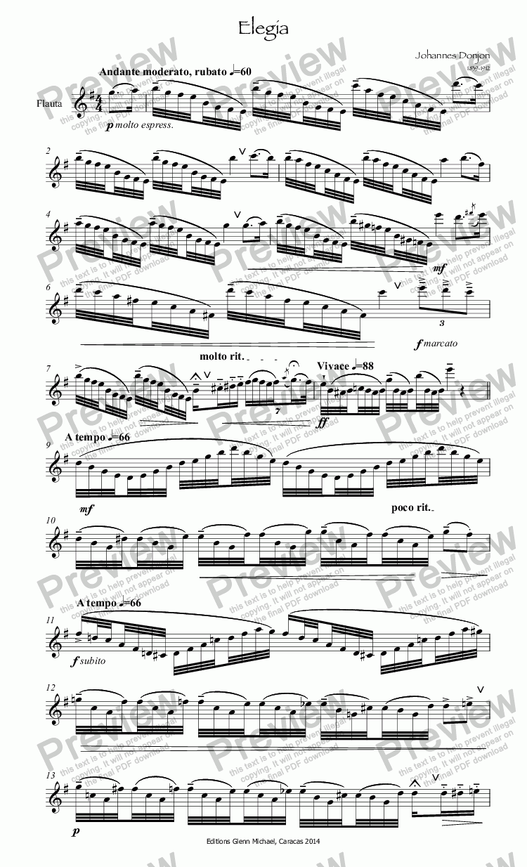 page one of Elegia Etude for fluteASALTTEXT