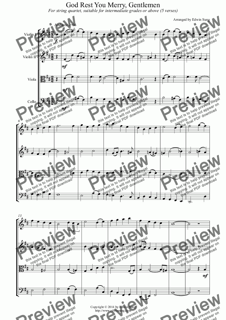 page one of God Rest You Merry, Gentlemen (for string quartet, suitable for intermediate grades or above)