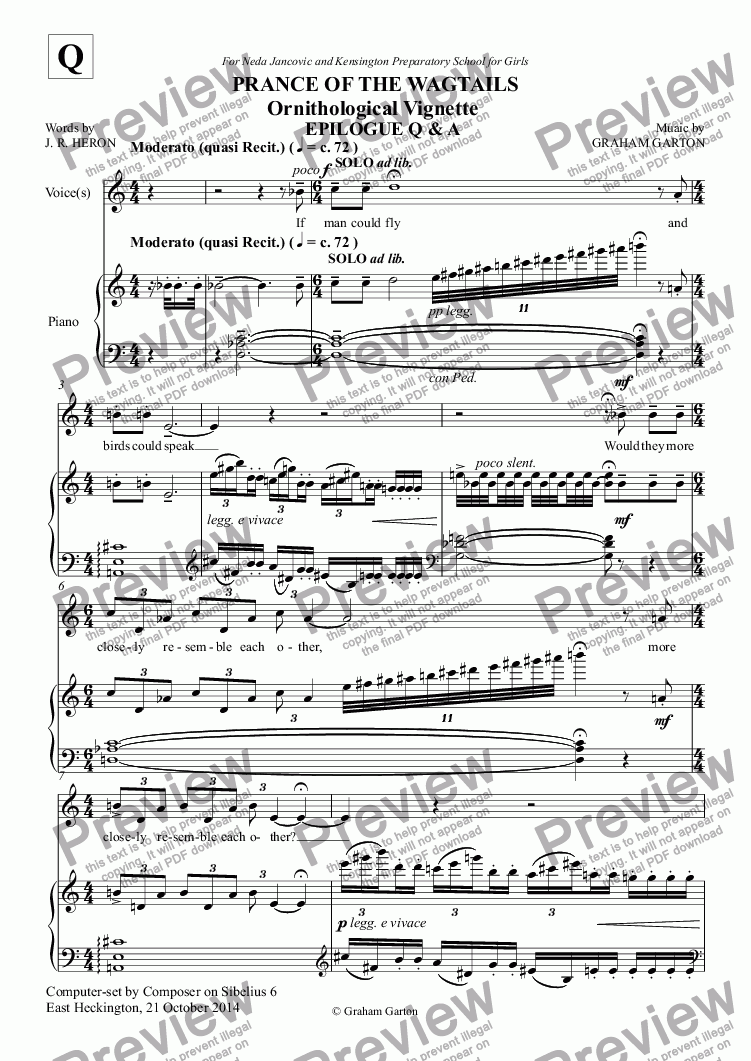 page one of CHORAL BALLET for Children - PRANCE OF THE WAGTAILS  (Nickname 'Birdie Opera') for Solo and Unison Voices: EPILOGUE Q&A