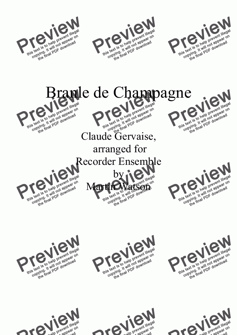 page one of Branle de Champagne for Recorder Ensemble