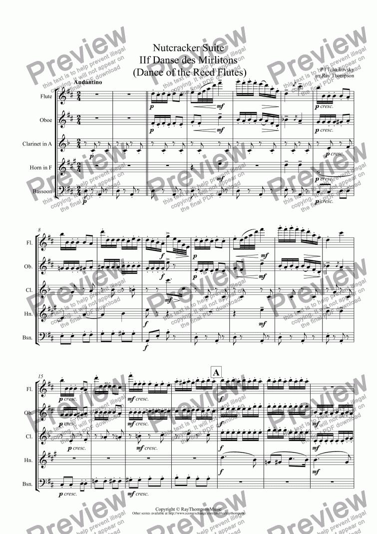 Tchaikovskycasse Noisette Nutcracker Suite Movt Iif Danse Des Mirlitons Dance Of The Reed Flutesabridged Version Arrwind Quintet For Wind