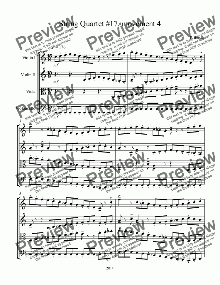 page one of String Quartet #17, movement 4