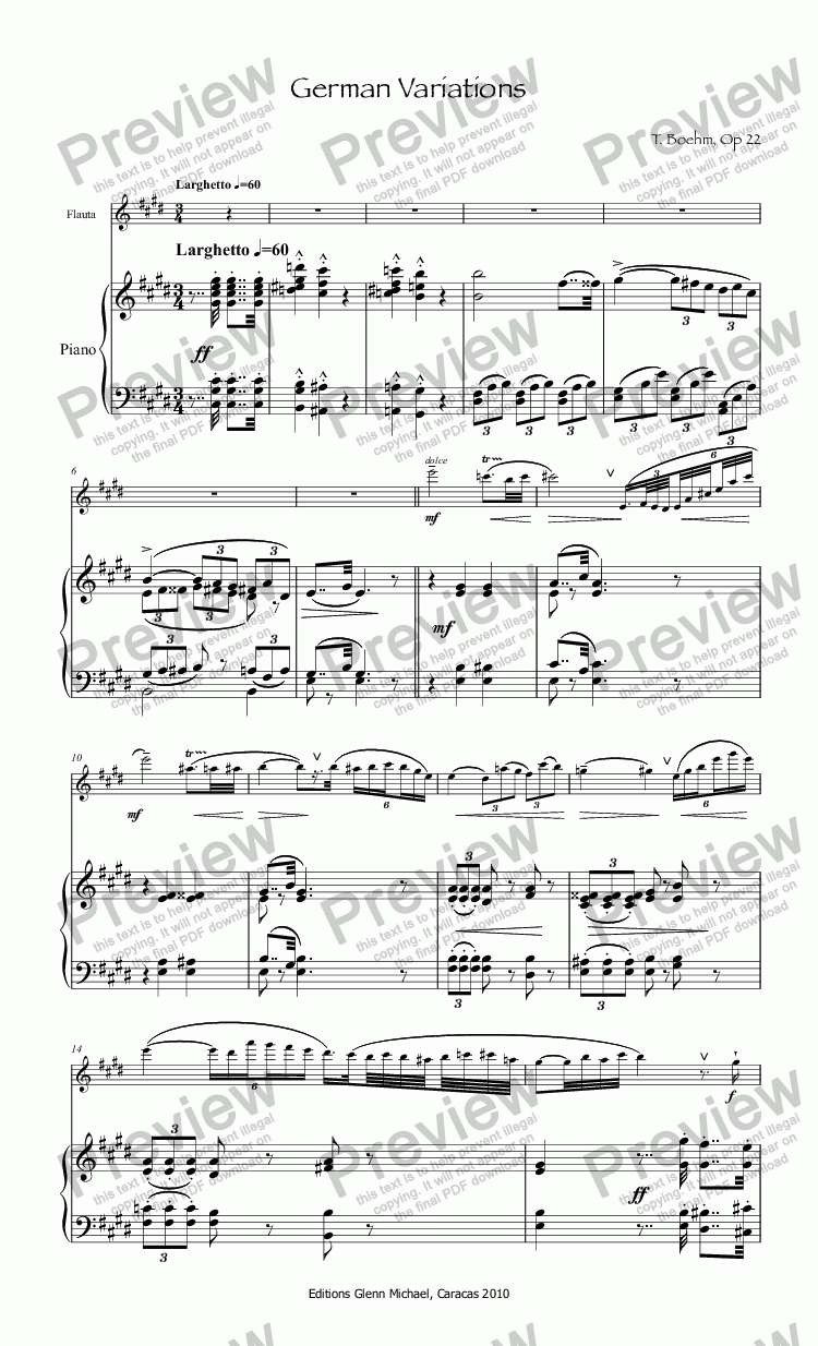 page one of Boehm German Variations for flute & pianoASALTTEXT
