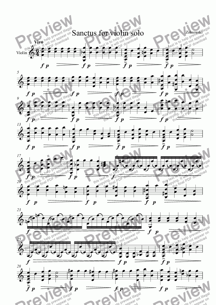 page one of Sanctus for violin solo