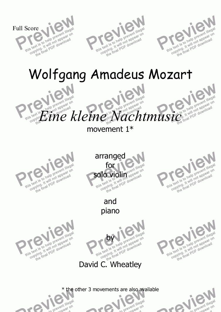 page one of Mozart - Eine kleine Nachtmusic mvt 1 (allegro) for violin and piano