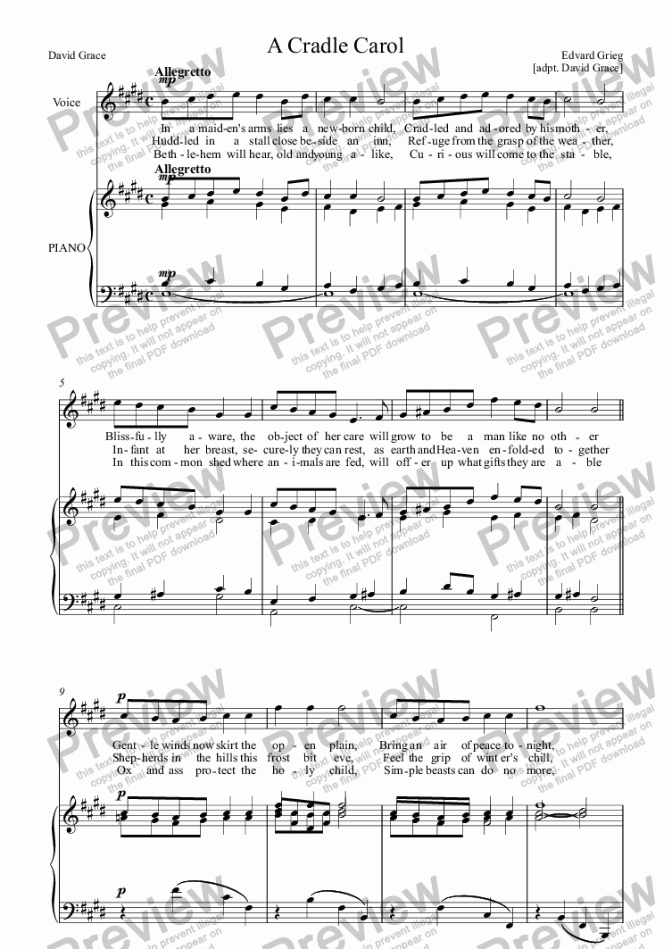 page one of A Cradle Carol