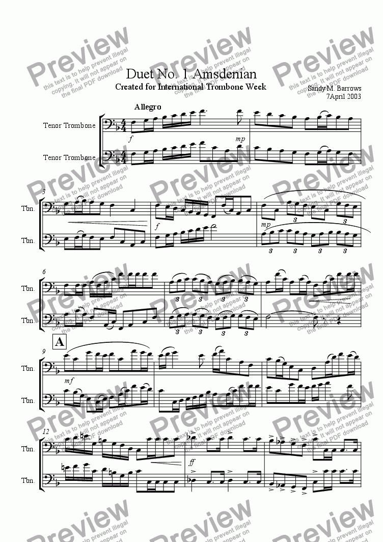 page one of Duet No. 1 Amsdenian