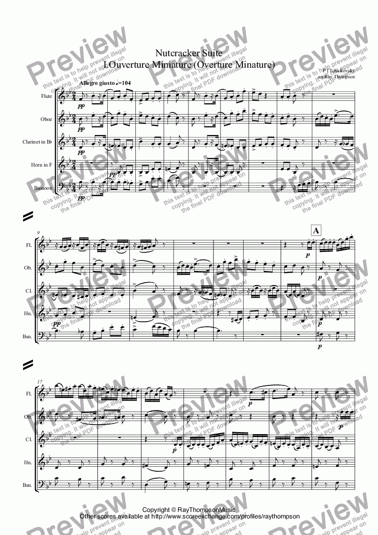 page one of Tchaikovsky: Casse-Noisette: Nutcracker Suite I.Ouverture Miniature (Overture Minature) arr.wind quintet
