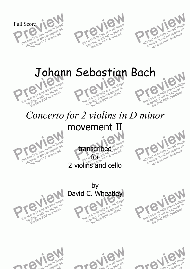 page one of Bach - double violin Concerto (mvt 2) for string trio