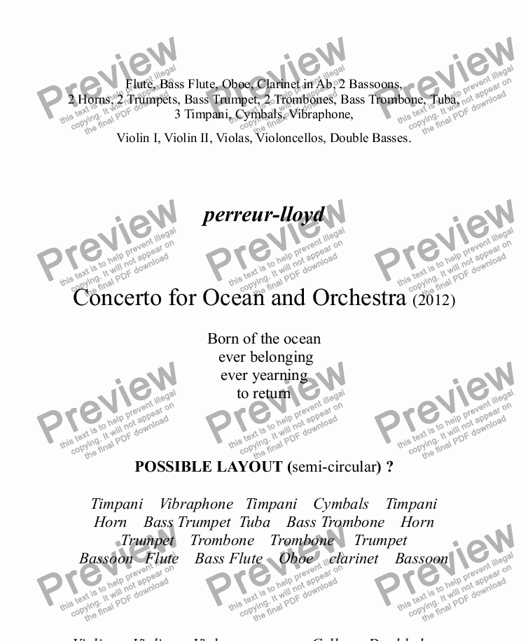 page one of 12. CONCERTO FOR OCEAN AND ORCHESTRA 2012