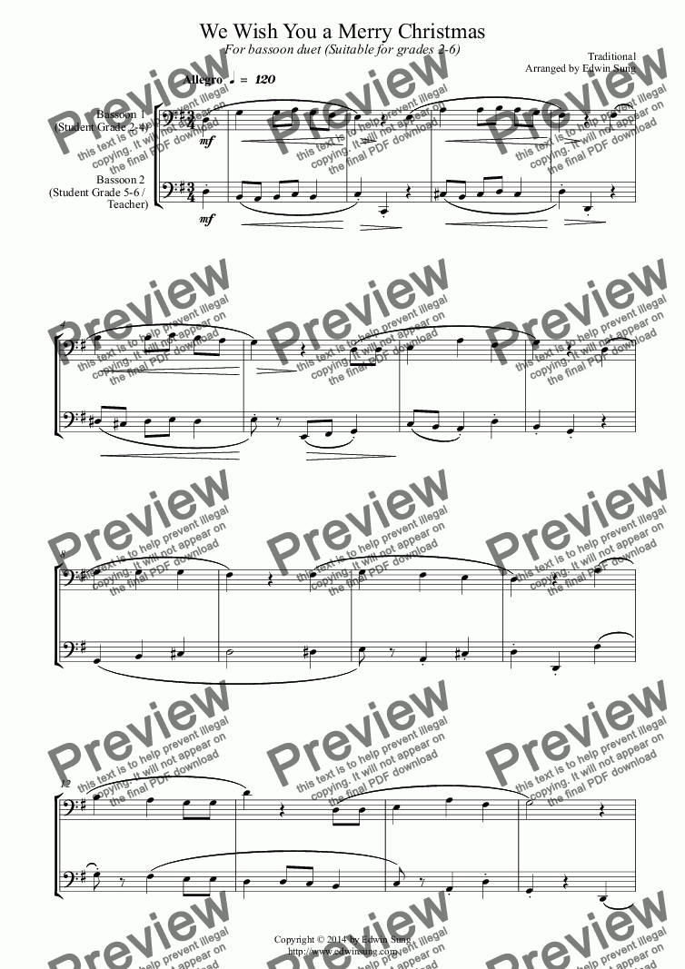 page one of We Wish You a Merry Christmas (for bassoon duet, suitable for grades 2-6)