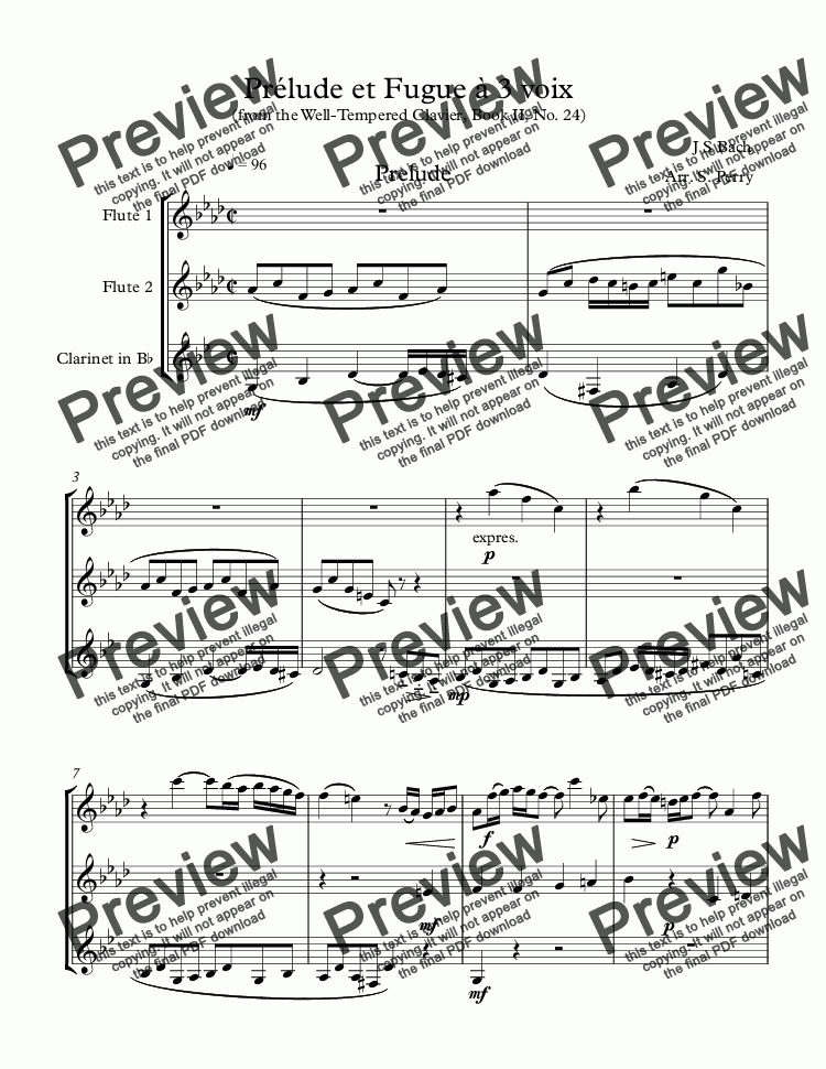 Prlude Et Fugue 3 Voix For 2 Flutes Clarinetj S Bach