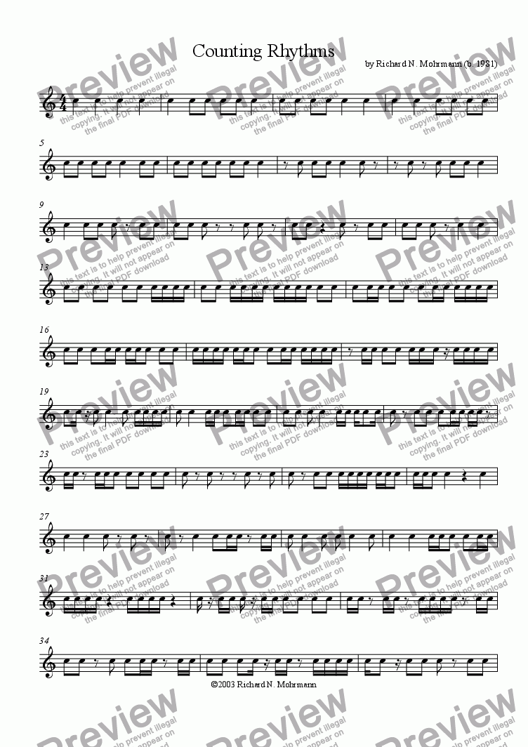 page one of Counting Rhythms