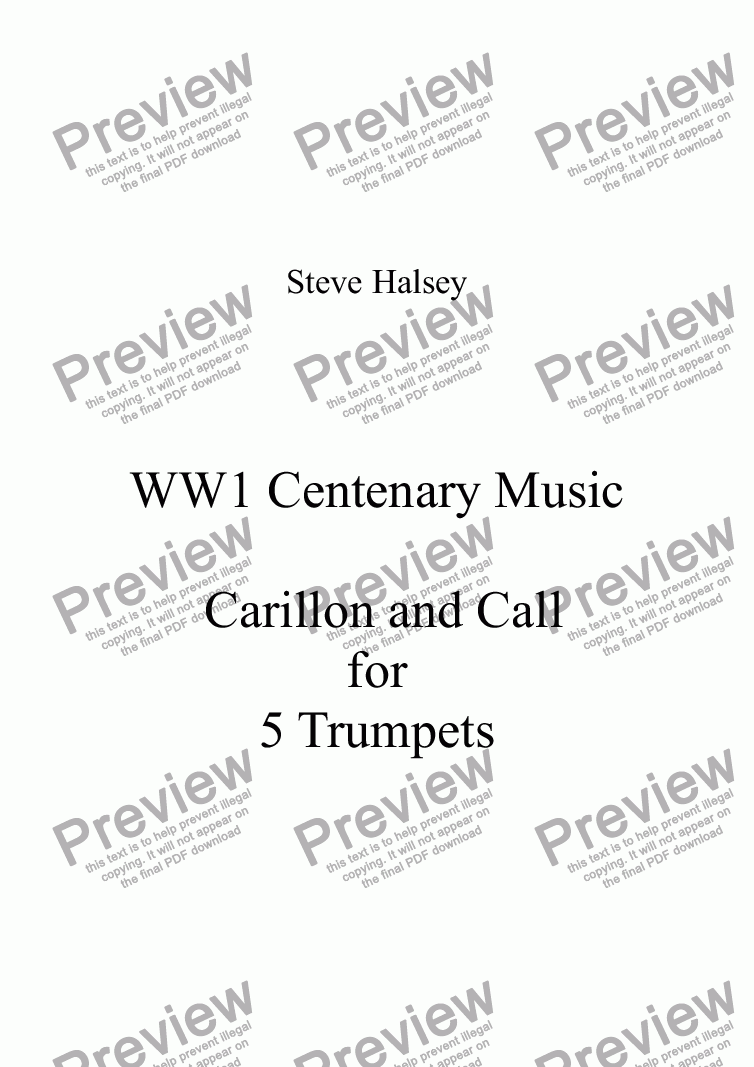 page one of WW1 Centenary Music   Carillon and Call for Five Trumpets in Bb