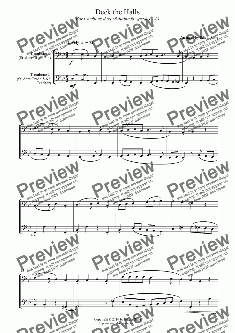 page one of Deck the Halls (for trombone duet, suitable for grades 2-6)
