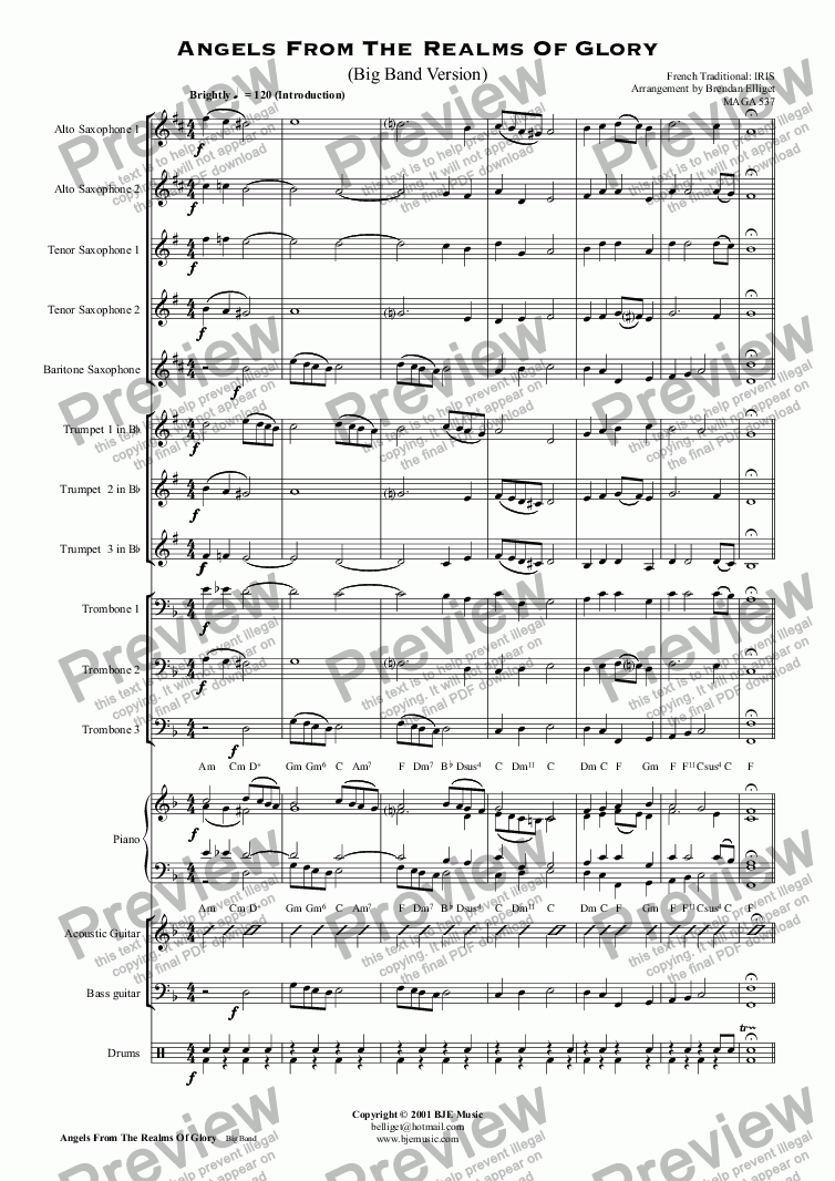 page one of Angels From The Realms Of Glory (Big Band Version)