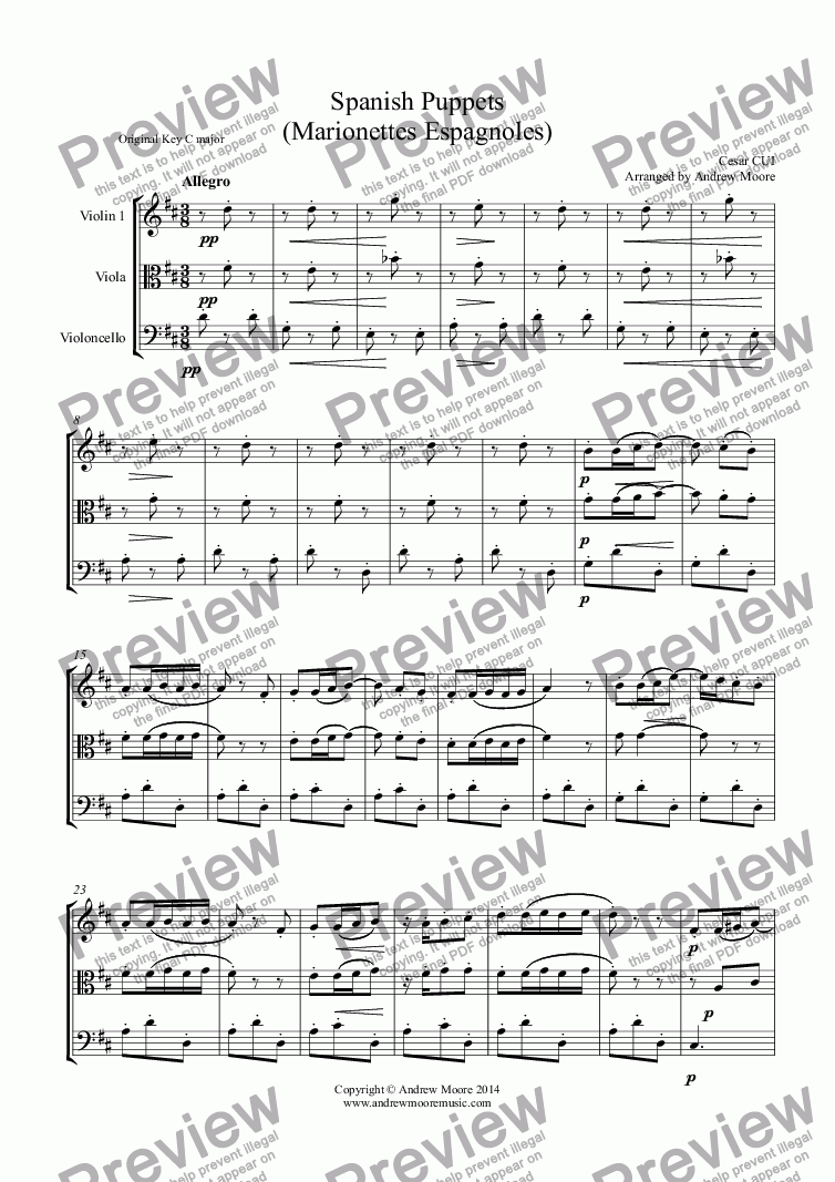 page one of 'Spanish Puppets' arr for String Trio of Violin, Viola and Cello