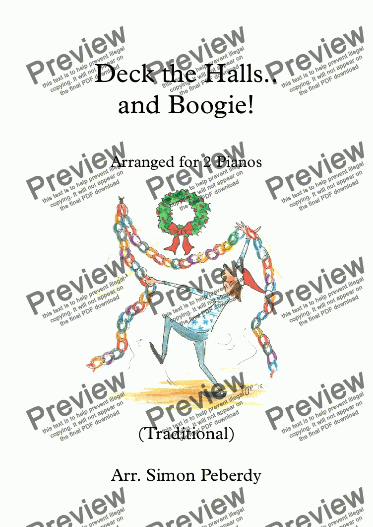 page one of Deck the Halls.. and Boogie! Christmas Carol for 2 pianos, 4 hands