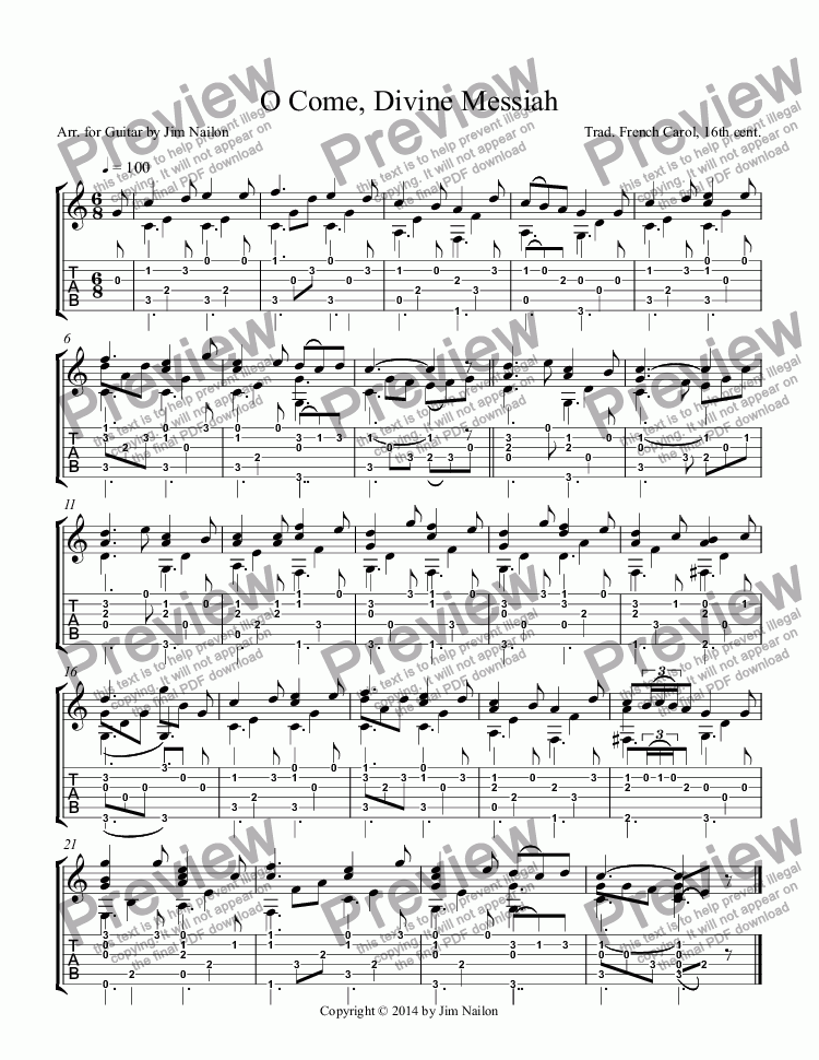 page one of Liturgical Guitarist: O Come, Divine Messiah