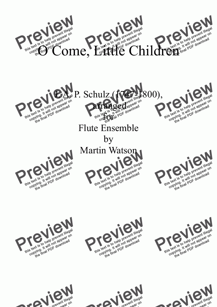 page one of O Come, Little Children for Flute Ensemble
