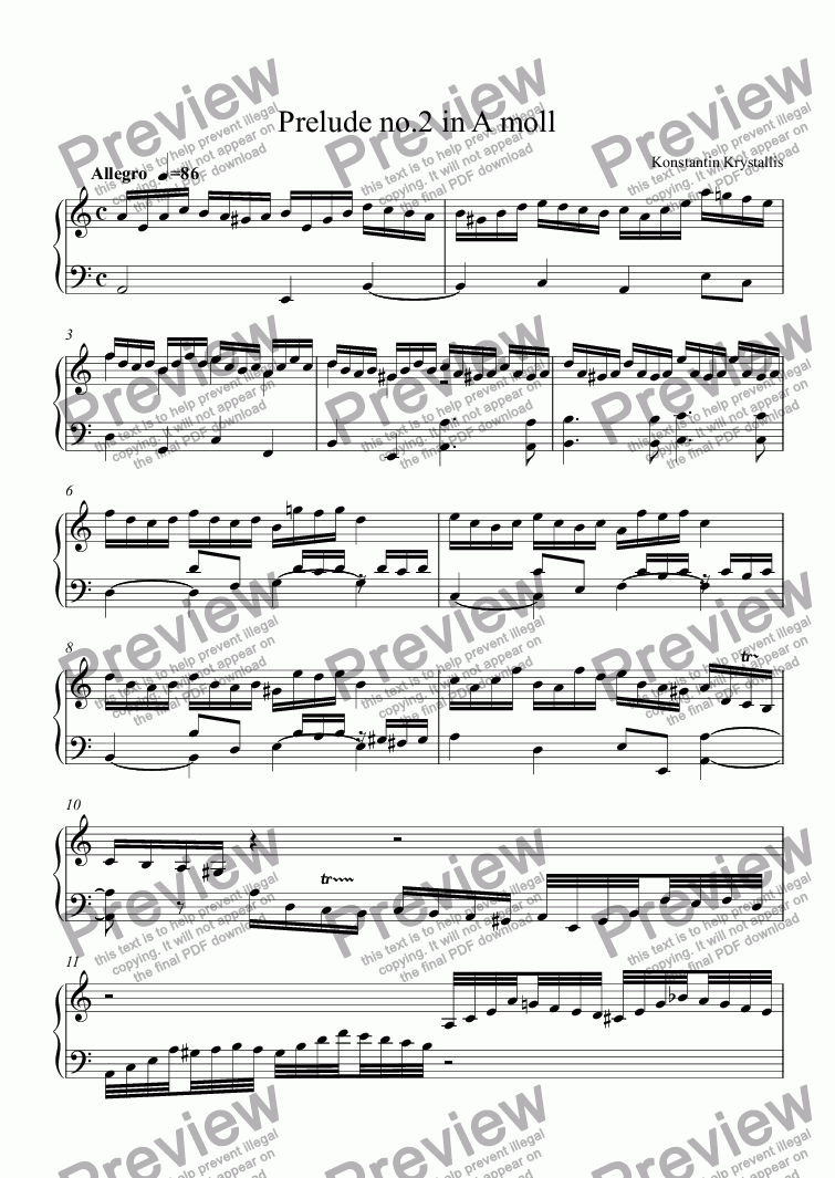 page one of Prelude no.2 in A moll