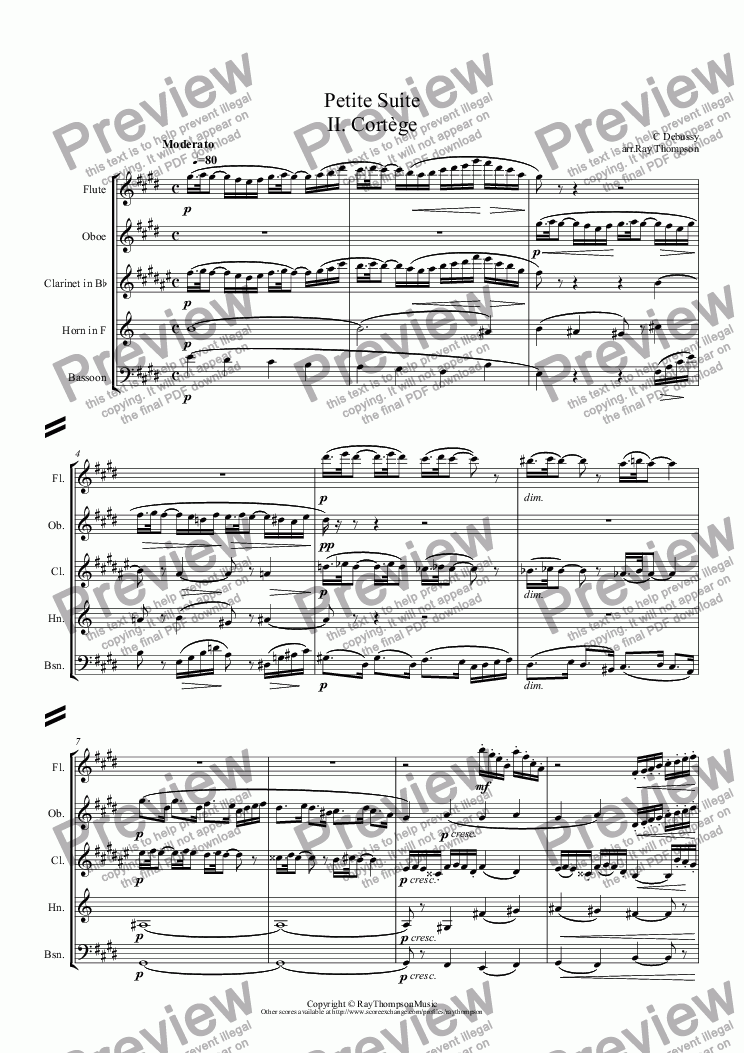 page one of Debussy: Petite Suite: II. Cortège (arr.wind quintet)ASALTTEXT