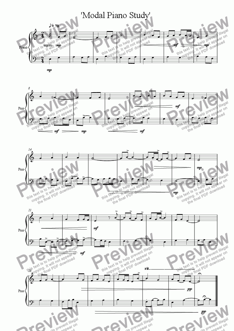 Modal Piano Study for Solo instrument (Piano) by Paul McKinley - Sheet  Music PDF file to download