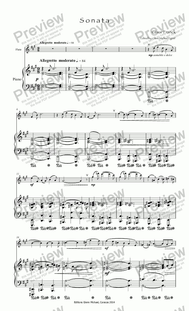 page one of Franck Sonata for flute & piano