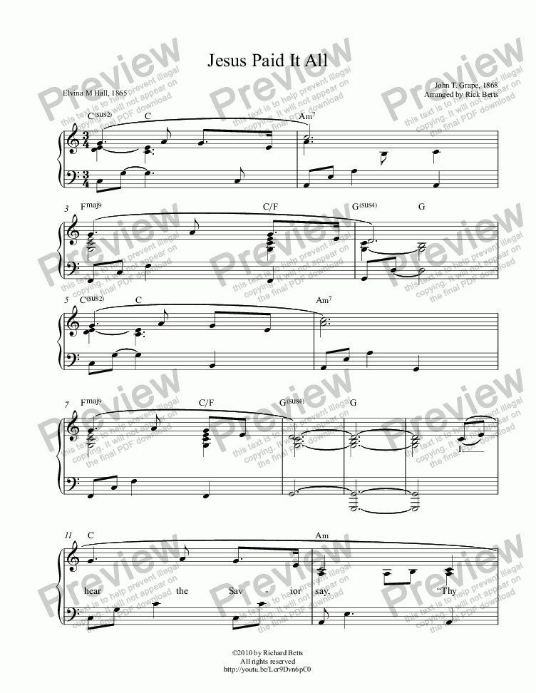 Jesus Paid It All - Lent / Easter / Communion Hymn Piano Solo - PDF