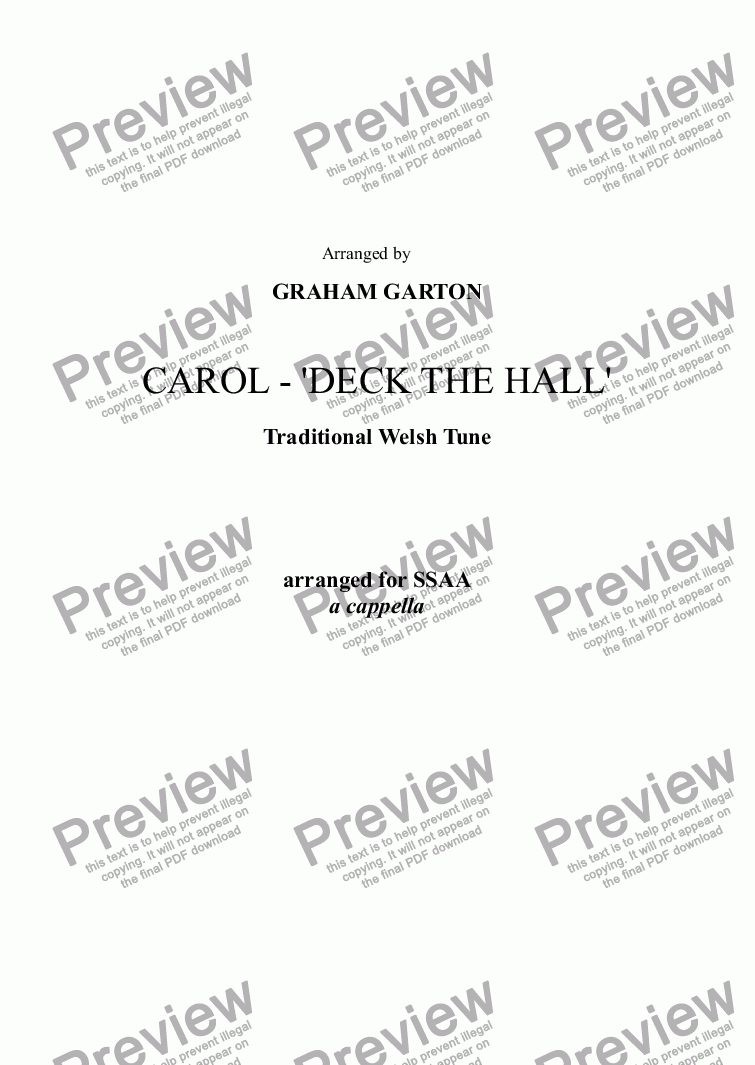 page one of CAROL - 'DECK THE HALL' (original Welsh Tune) arranged for SSAA a cappella