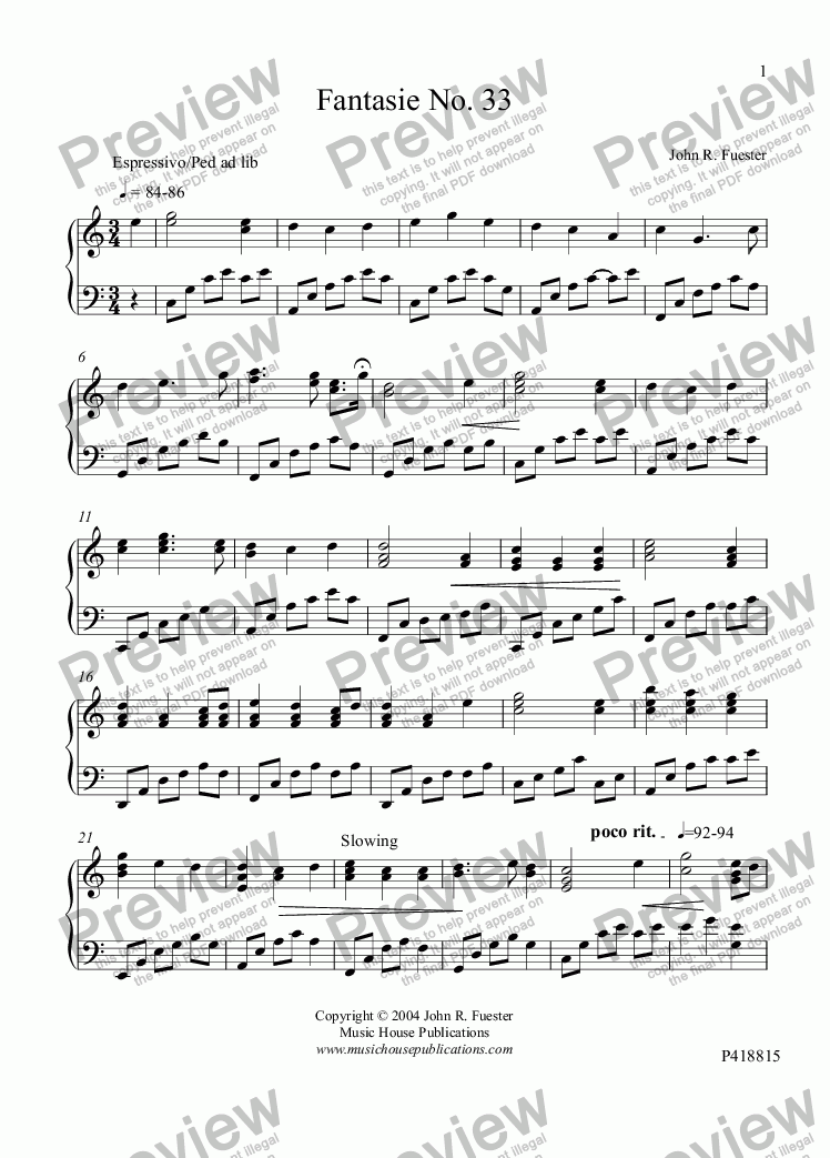 page one of Fantasie No. 33