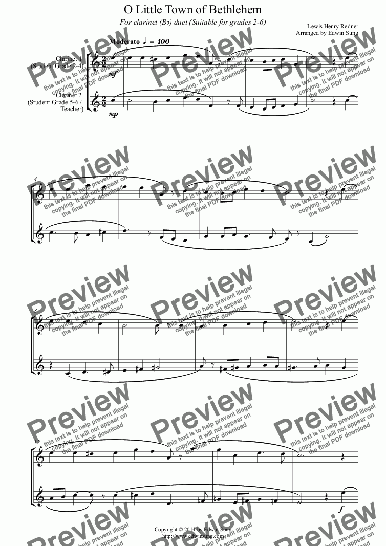 page one of O Little Town of Bethlehem (for clarinet (Bb) duet, suitable for grades 2-6)