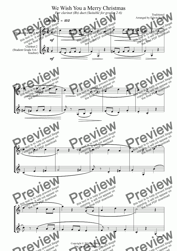 page one of We Wish You a Merry Christmas (for clarinet (Bb) duet, suitable for grades 2-6)