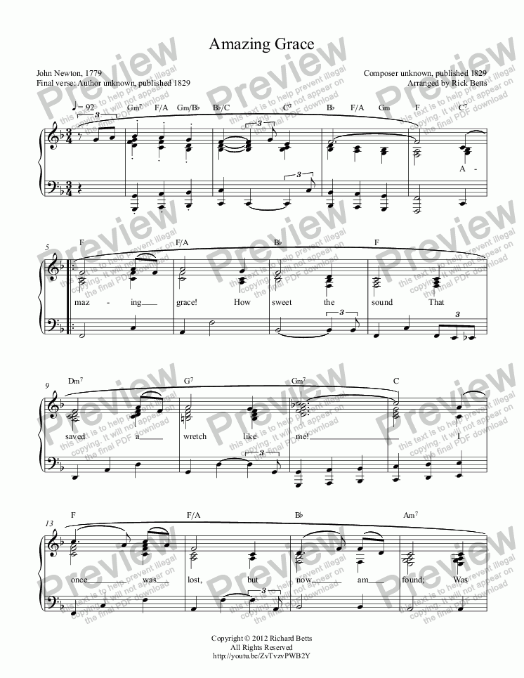 page one of Amazing Grace - Hymn Piano Solo and Chord Worksheets