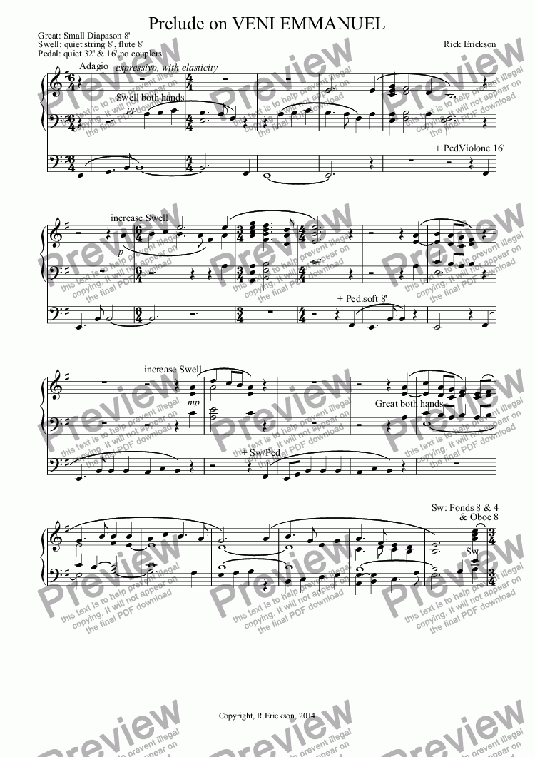 page one of Prelude on VENI EMMANUEL