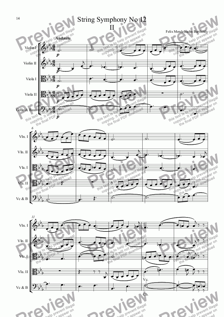 page one of String Symphony No 12 2nd Movement