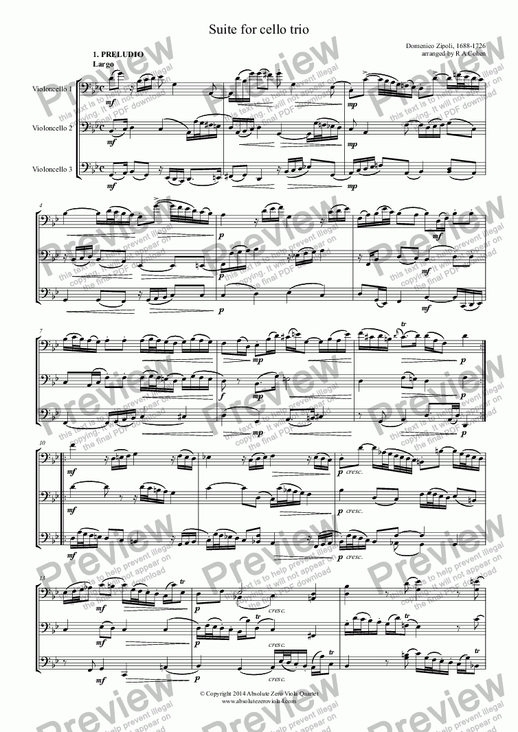 page one of Zipoli - SUITE - for cello trio