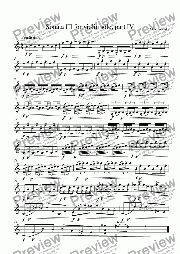 page one of Sonata III for violin solo, part IV