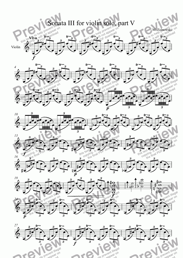 page one of Sonata III for violin solo, part V