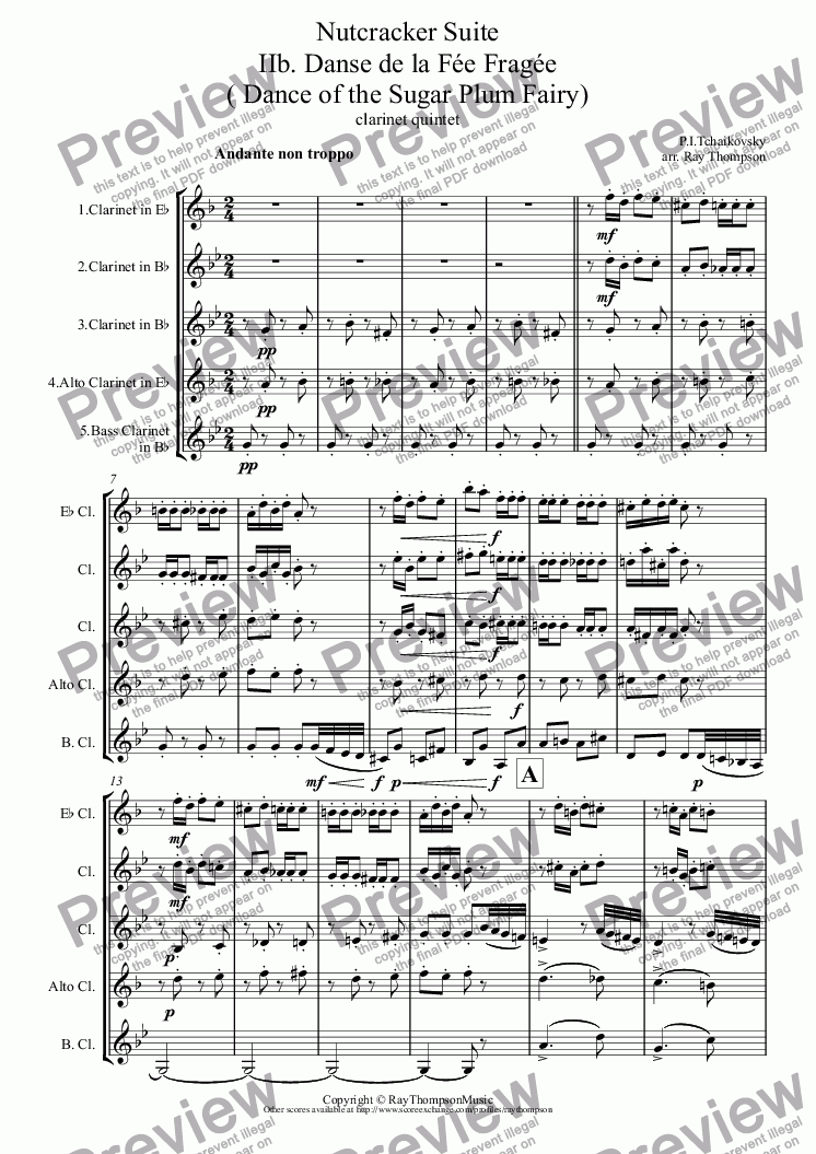 page one of Tchaikovsky: Casse-Noisette: Nutcracker Suite IIb. Danse de la Fée Fragée ( Dance of the Sugar Plum Fairy) arr.clarinet quintet