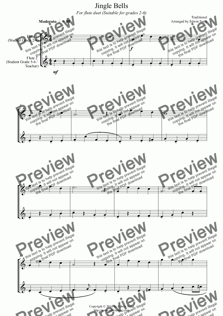 page one of Jingle Bells (for flute duet, suitable for grades 1-5) (14BFLDU07)ASALTTEXT