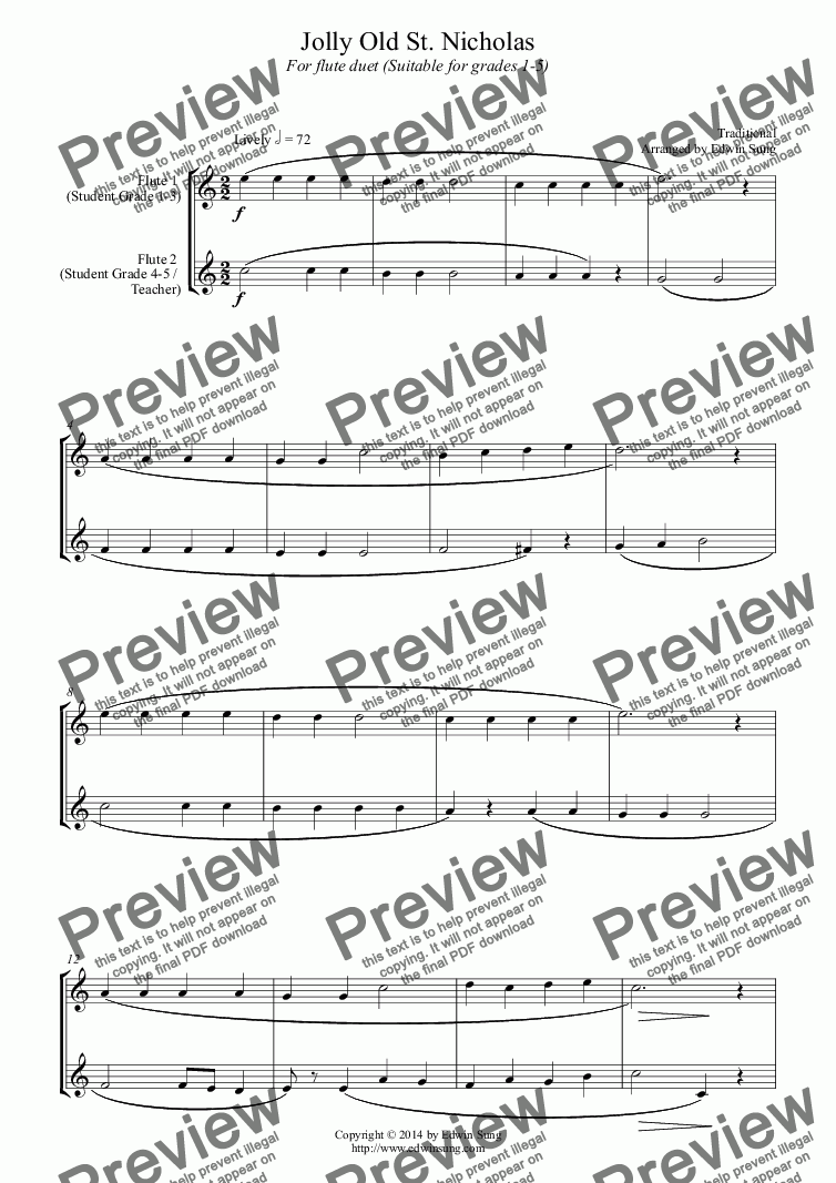 page one of Jolly Old St. Nicholas (for flute duet, suitable for grades 1-5) (14BFLDU08)